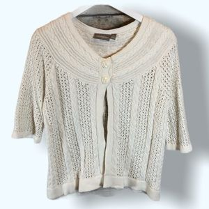 Croft & Barrow White Cable Knit Cardigan